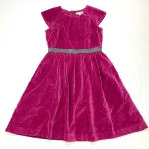 Mini Boden Pink Velvet Pleated Party Dress Sz 11